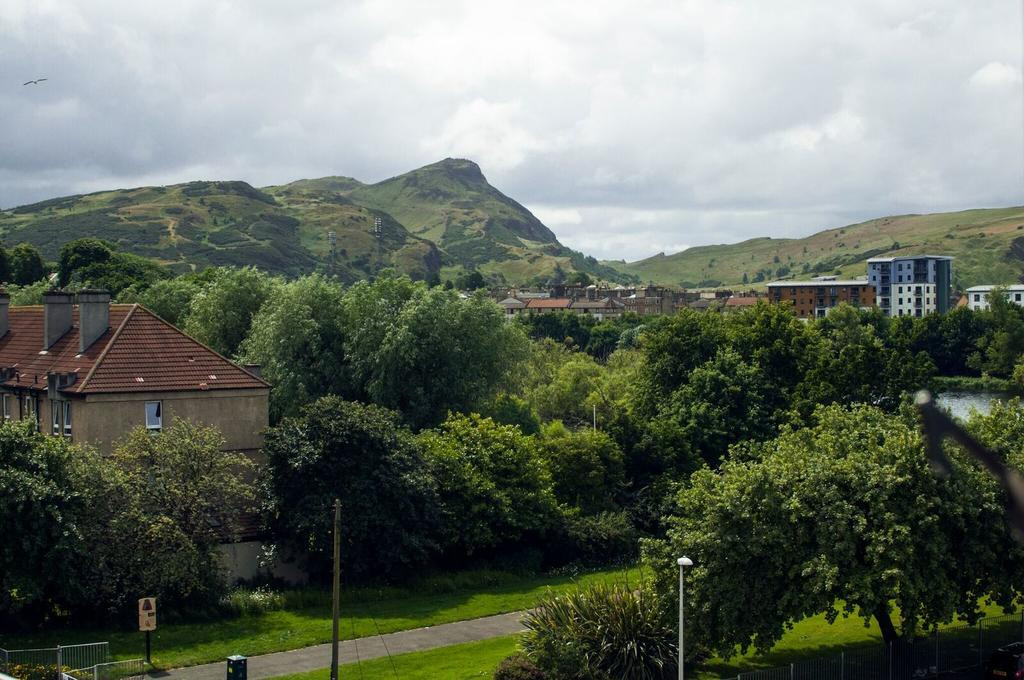 The view of Arthurs Seat looking across Lochend Park